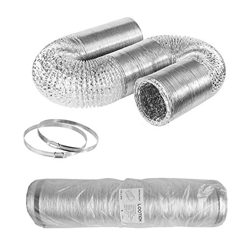 LOOTICH Aluflexrohr Ø100mm Länge 8m Abluftschlauch Flexibel Luftleitungen Aus Aluminium Rohr Flexschlauch für HVAC Lüftung 2 Stück Schlauchschelle Edelstahl Inbegriffen
