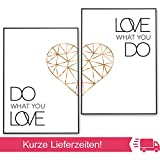 POSTER-SET mit Spruch DO WHAT YOU LOVE 50x70 mit Herz in