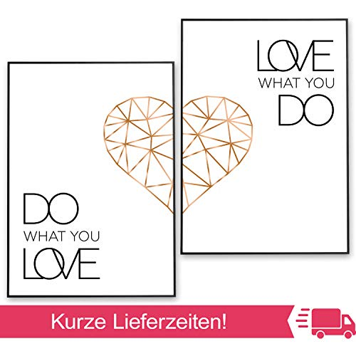 POSTER-SET mit Spruch DO WHAT YOU LOVE 50x70 mit Herz in Rose-Gold - BILDER-SET XXL Typographie - WAND-BILD - STATEMENT Zitat Sprüche Schriftzug Liebe - WAND-DEKORATION schwarz weiß - WAND-DEKO