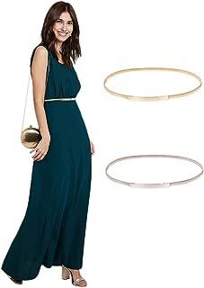 Women Skinny Metal Cinch Belt Gold Waistband Elastic Waist Belt CL633