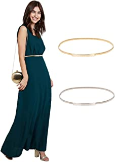 Women Skinny Metal Cinch Belt Gold Waistband Elastic Waist Belt CL633