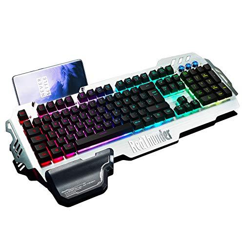 RedThunder Teclado Semimecánico Gaming, Retroiluminación RGB, Teclado Gaming PS4 con Cable USB, Teclado para PC/Laptop / PS4 / Xbox One (Teclados Español)