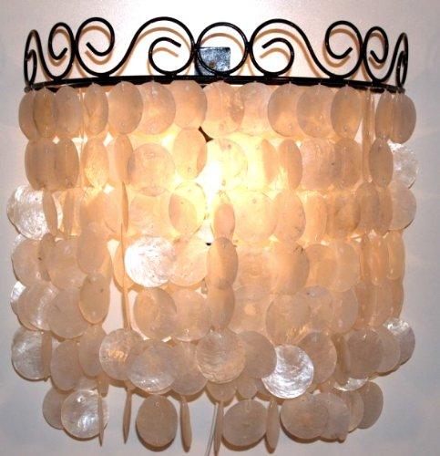 Guru-Shop Muurlamp/Muurlamp Concha, Schelplamp Gemaakt van Honderden Capiz, Parelmoerplaten, Crèmewit, Schelpen, 42x45x20 cm, Wandlampen