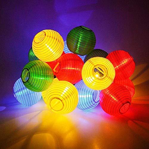 SUAVER Solar Lichterkette Bunt Lampion Außen Outdoor Laternen 30er Kugeln für Weihnachten Party Lichterpfindlich Uping (Multi)