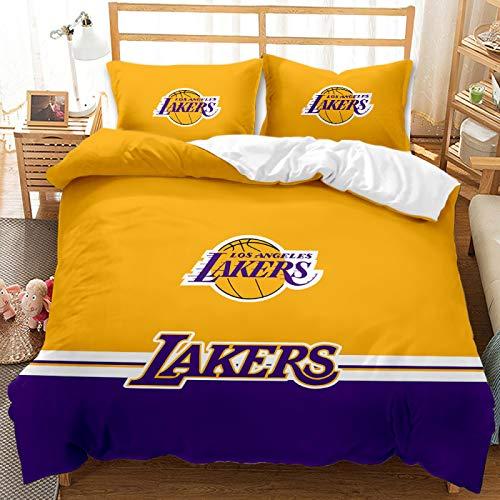 QXbecky Logotipo de baloncesto, logotipo de Bulls, ropa de cama de los Lakers, funda de edredón de microfibra suave, funda de almohada 2, juego de 3 piezas, cama individual
