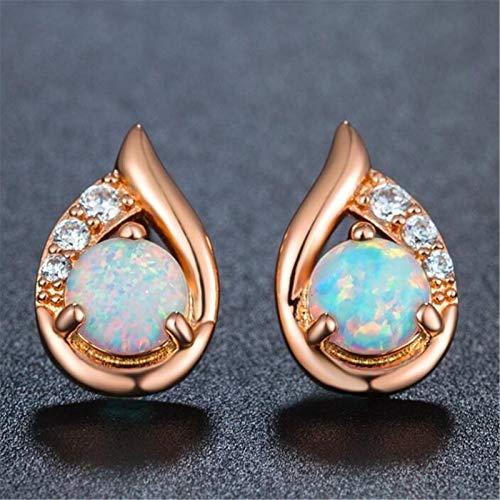 U/K Opal Small Stud Earrings Girl Creates Sterling Silver hypoallergen Wing Jewelry Coating Gold Women (Color : 3)