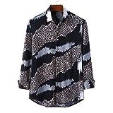 Camisa de Gasa de Primavera y otoño para Hombres Camisa de Flores de Solapa Camisa de Manga Larga (Black,L)