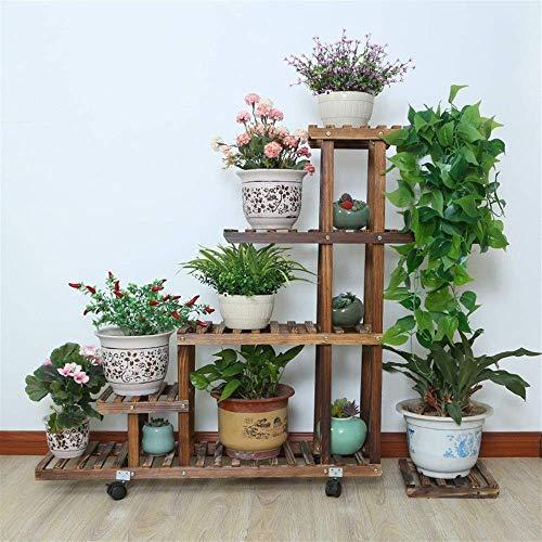 FCXBQ Blumenständer Holzpflanze Regal Bonsai Balkon Wohnzimmer Innengarten Mehrschichtige Blumentopf Regal Dekoration Präsentationsständer 5 Tier bodenstehend (Farbe: fahrbar, größe: 95 * 25 * 96