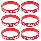 LUOEM Silikon Armbänder WM Flagge Fahne Dänemark Land Armband Fanartikel Fussball 2018 WM 6 Stücke Denmark
