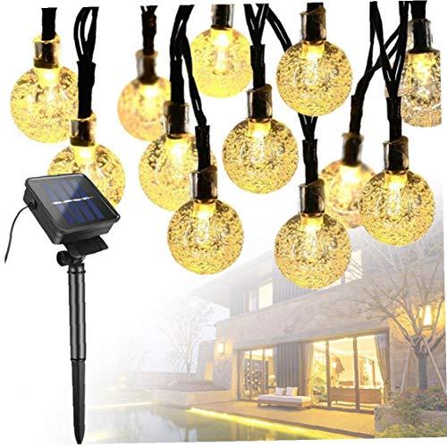 Canjerusof La Secuencia Solar Luces 7M 50 LED a Prueba de Agua Multicolor Luz de Navidad LED Luces de Cadena Globo de Interior al Aire Libre, Gazebo, Jardín (luz Blanca cálida)