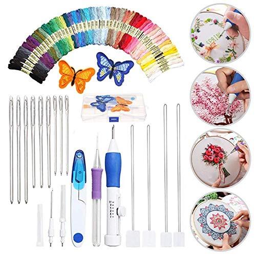 Moonmoonlala Kit de herramientas de bordado para principiantes, juego de agujas de bordado mágico con 50 hilos de colores para coser y bordar para principiantes.