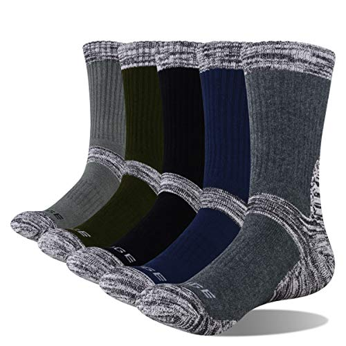 YUEDGE Men's 5 Pairs Hiking Socks, Cotton Sports Wicking Breathable Cushion Anti Blister Casual Crew Socks Outdoor Multi Performance Walking Trekking Athletic Socks (XL)