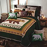 Quilt Bedding Set in Full/Queen by Virah Bella - Moon Bear Olive Printed Lightweight Reversible Quilt with 2 Matching Pillow Shams - Cozy & Beautiful Lodge-Themed Bedding
