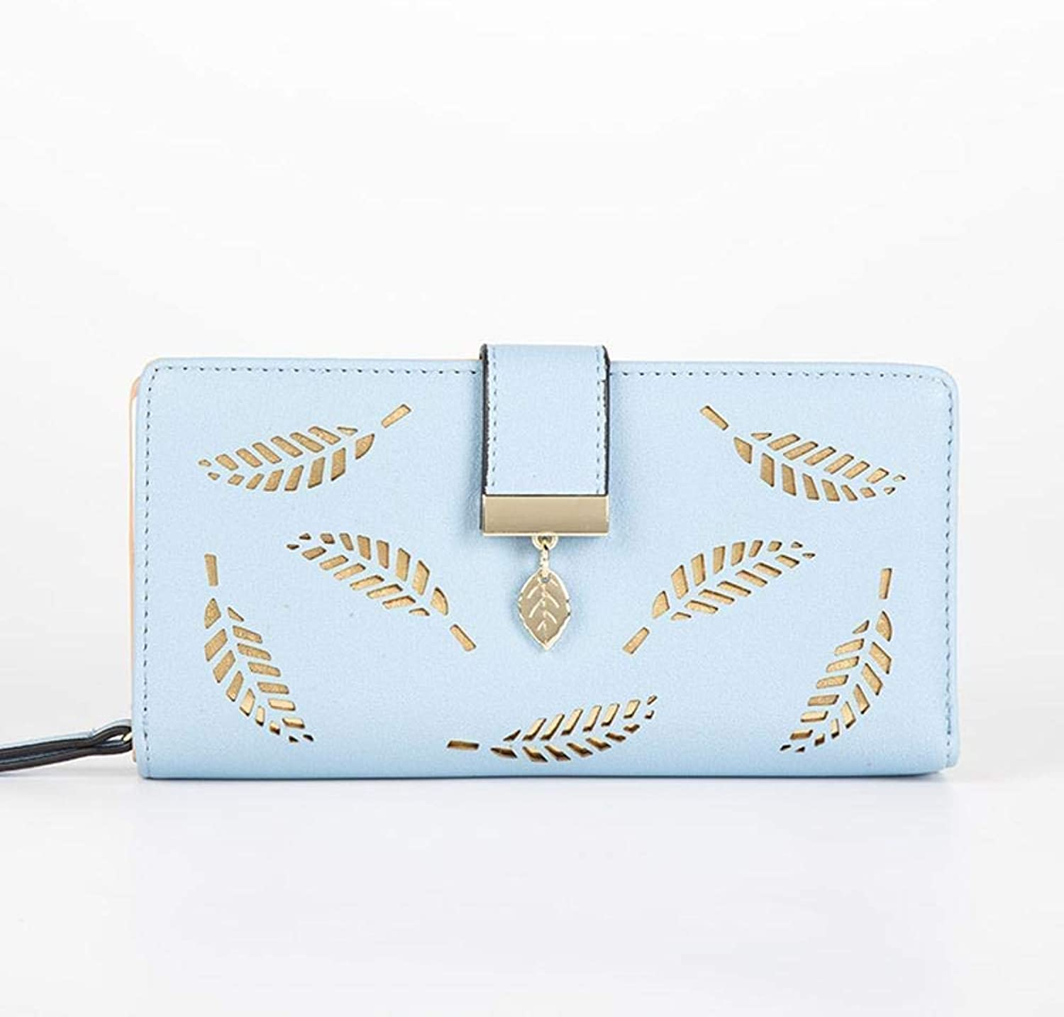 Girls Purse Ladies Wallet Leaf Hollow Lady Purse Large Zipper Buckle Casual Hand Take Change Card Bag (color   D)
