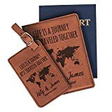 Personalized Leatherette Passport Holder and Luggage Tag Set for Women and Men | 18 Design Options | Custom Engraved Passport Cover Suitcase Tag with Name, Travel Gifts for Boss | Chestnut