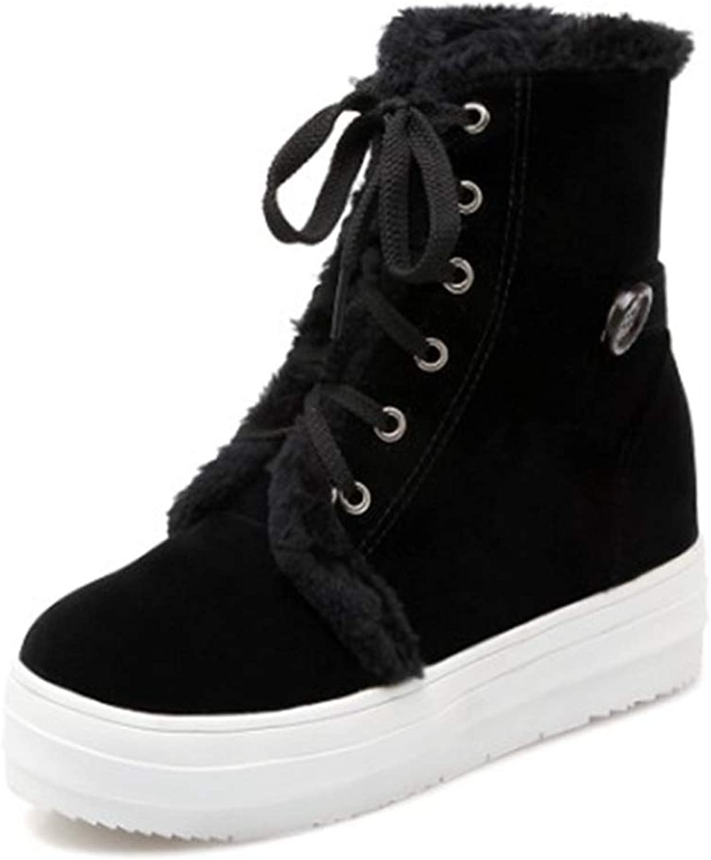 Short Plush Flat Platform Sneakers shoes Plus Flock Winter Women's Lace Up Cotton Snow Boots