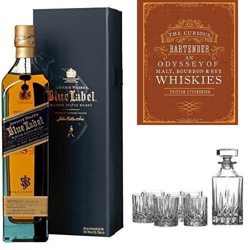 Photo of Johnnie Walker Blue Label Blended Scotch Whisky, The Curious Bartender – Malt, Bourbon & Rye Book and Royal Doulton Crystal Decanter Set