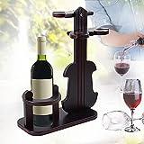 NACHEN Geigen Weinregale Holz Vintage Einzigartiger Flaschenhalter Aufhänger, Wooden