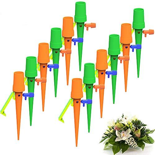 KKshop Riego por Goteo Automático Kit, 12Pcs Dispositivo de Riego de Plantas Flujo de Agua Ajustable Automático con Válvula de Control de Interruptor Sistema de Riego por Goteo