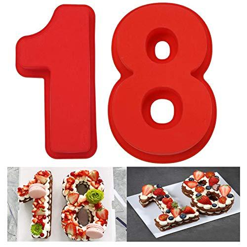 Zahlenbackform Kuchenform Anzahl Silikon Kuchenform Set 10'' Zahlen Silikon Kuchenform 18 Anzahl Geburtstag Kuchenform Rot Kuchen Silikonbackform 2 Stück für Hochzeit Jahrestag DIY Kuchen Brot Mousse