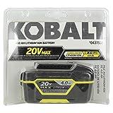 Kobalt 20-Volt 4.0-Amp Hours Lithium Power Tool Battery Item # 437531 Model # K20-LB40A UPC # 69204200293