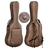 CAHAYA セミ ギターハードケース アコギ アコースティック PU材 防水 お手入れ簡単 ネックピロー付 3つのポケット 大容量 クラシックギター フォークギター セミハードケース 収納可能 茶色