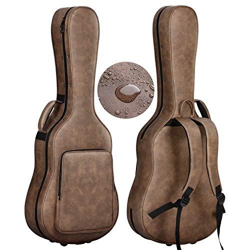 CAHAYA セミ ギターハードケース アコギ アコースティック PU材 防水 20mmクッション お手入れ簡単 ネックピロー付 3つのポケット 大容量 クラシックギター フォークギター セミハードケース 収納可能 茶色