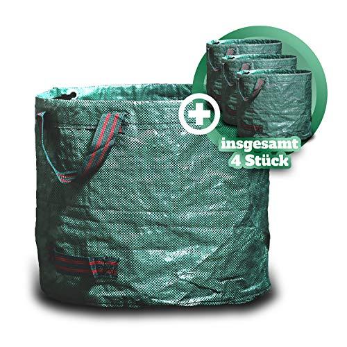 GARSA Gartenabfallsack 4 x 60 Liter – Handliches Premium Gartensack Set - Laubsack Selbstaufstellend für Gartenabfälle mit Vier Reißfesten Griffen