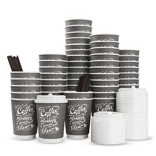 to Go Disposable Hot Coffee Cups with Lids & Stirrers | 12oz 50pcs Pack Double Wall, Recyclable, Insulated | No Sleeves Need | Takeaway Paper Cups for Hot Drinks (Gray, 12 Oz)