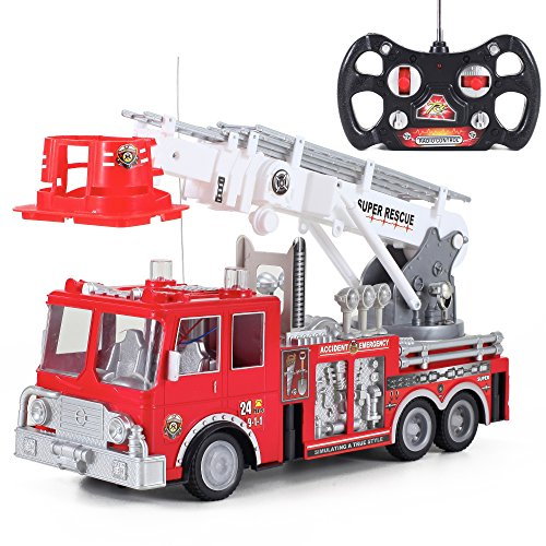 Liberty Imports 13-Inch RC Rescue Fire Engine Truck Remote Control Kids Toy with 17-Inch Extendable Ladder and Lights and Sirens Sounds