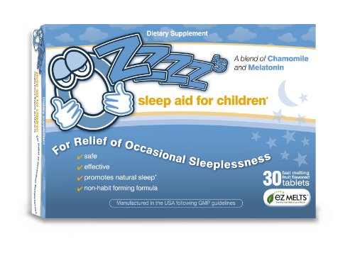 OZzzz's Sleep Aid for Children, Zero Sugar, Vegan, Pediatrician Formulated, 30 Fruit Flavored EZ Melt Tablets