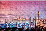 1000 piezas-Góndolas en Venecia al amanecer Imágenes románticas de Venecia, Rompecabezas de madera DIY Rompecabezas educativos para niños Regalo de descompresión para adultos Juegos creativos Juguete