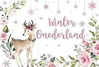 新しい5x3ft冬のオンダーランドの背景花のピンクの鹿と雪片写真の背景女の子のベビーシャワーBirtNEWayパーティーの装飾保育園の活動赤ちゃんの部屋の写真撮影の小道具の壁紙