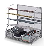 Simple Trending 5-Trays Mesh Desk File Organizer Vertical Document Letter Tray Wall File Holder with Drawer Organizer for Office Home, Silver