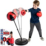 NSG Punching Bag and Boxing Gloves Set for Kids - Freestanding Base Punching Ball with Spring Loaded Height Adjustable Stand, Junior Boxing Gloves, and Hand Pump - Ages 3+ , Red/Black