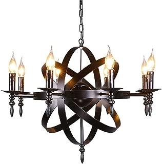 Zzyff Brilliant Vintage Industrial Chandeliers, Pendant Lamps Antique Black Iron Hanging Lamps 8-Lights Nordic Retro Living Room Bedroom Dining Pendant Lights E14 Socket