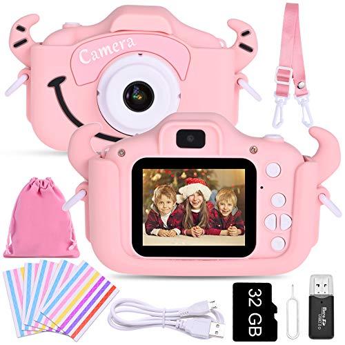 Faburo Bambini Fotocamera Digitale con Scheda SD 32 GB, Macchina Fotocamera Bambini Portatile Selfie Macchina Digital Dual Lens Camera Regalo di Compleanno per Bambini (Rosa)