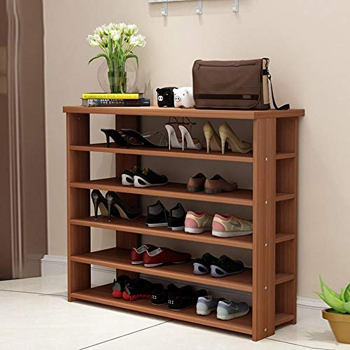 xiannv 5 Tiers Stackable Wood Shoe Storage Organiser Shelf Hold Stand for 15 Pairs, Space Saving, Easy Assemble Easy Assemble (Color : D, Size : 70 * 24 * 99CM)