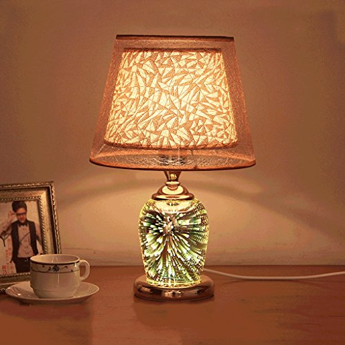 PIAOLING Fashion 3D crystal lamp, modern simple study room living room bedroom table lamp, home decoration ( Color : Gold )