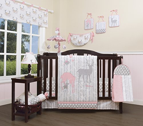 GEENNY Baby Girl Deer Family 13 Piece Nursery Crib Bedding Set