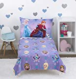 Disney Frozen - Let The Magic Flow - 4Piece Toddler Bed Set - Coral Fleece Toddler Blanket, Fitted Bottom Sheet, Flat Top Sheet, Standard Size Pillowcase, Lavender, ICY Blue, Pink, White