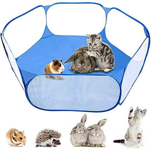 MAIKEHIGH Foldable Pet Puppy Playpen Cage Play Tent Outdoor Indoor Fence for Guinea Pig, Rabbits, Hamster, Chinchillas and Hedgehogs (Blue)