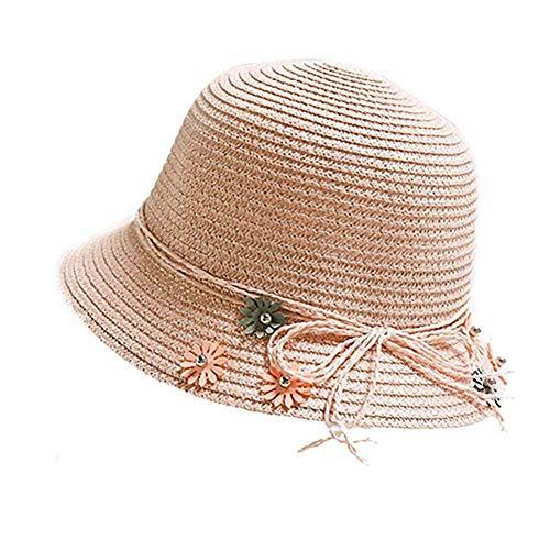 Csheng Kinder Strohhut Strohhut Kinder Jungen Baby Hat Sonnenhut Baby Kleinkind Hüte Jungen Kleinkindmütze Baby Sonnenhut Sommerhüte für Mädchen pink,50-54cm