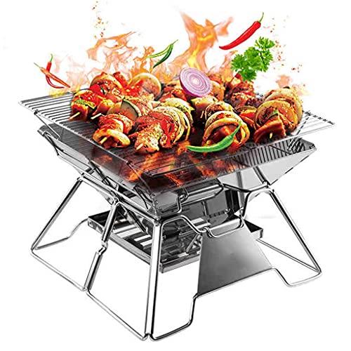 N\C Faltbarer Familiengrill, tragbarer Outdoor-Grill, Zwei Verstellbarer Dicker und belüfteter Edelstahl, geeignet für den Innenhof LKWK