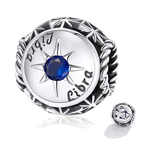 ZiFouDou Abalorio para Pulsera Pandora&Chamilia,Dijes De Plata De Ley 925,Originales Bead Charm para Collare - Libra Zodíaco