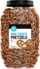One 40 ounce tub of Happy Belly Mini Twist Pretzels Baked, not fried Perfect for serving at parties, family get-togethers and picnics Grab a handful and keep the rest fresh in the resealable canister If you like Snyder's of Hanover Mini Pretzels, we ...