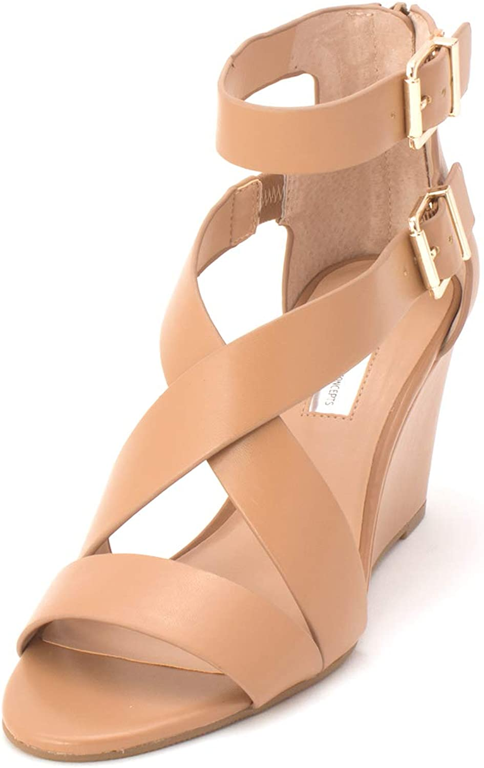 Inc Womens Rominia Faux Leather Wedge Sandals