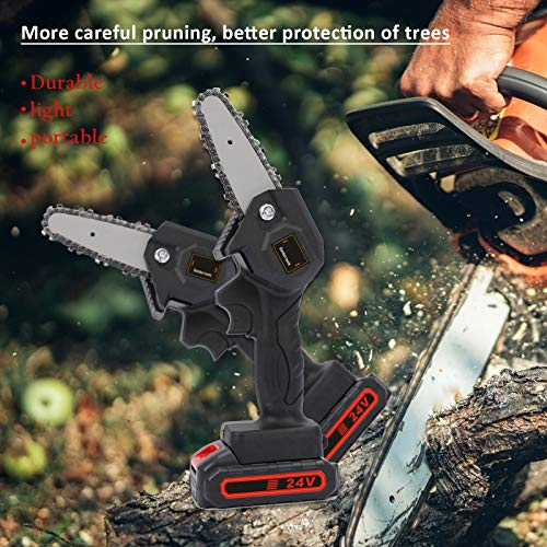Mini Chainsaw, 4 Inch Cordless Electric Chainsaw Battery Chain Saw, One-Hand Handheld Chainsaw with Brushless Motor, Portable 24V Tree Saw for Courtyard Tree Branch Wood Cutting