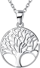 Agvana Sterling Silver Gold Tree of Life Pendant Necklace Minimalist Jewelry Gifts for Women Mom Lover Family with Gorgeous Jewelry Box, 16+2 Inch Extender Necklace