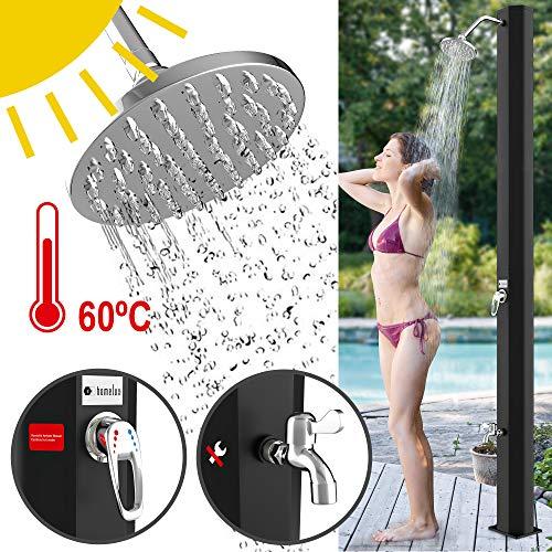 Homelux Solar Gartendusche Solardusche | warmes Wasser | 35 Liter | max. 60°C | ohne Stromanschluss | Pooldusche Camping| Regenduschkopf und Wasserhahn | Gartenschlauch-Anschluss | Schwarz
